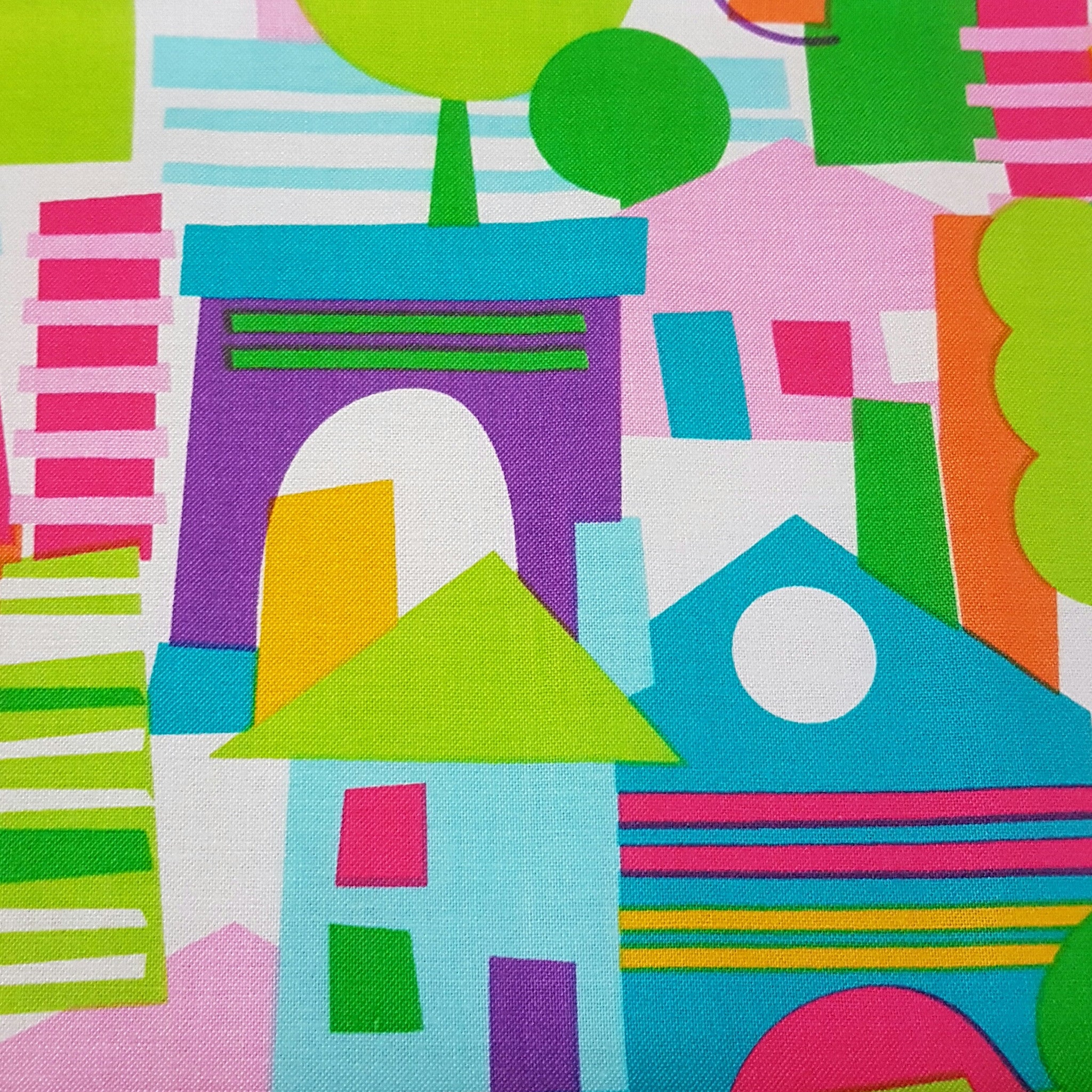 Bright Houses - 100% Cotton Fabric Fat Quarter - Vera Fabrics