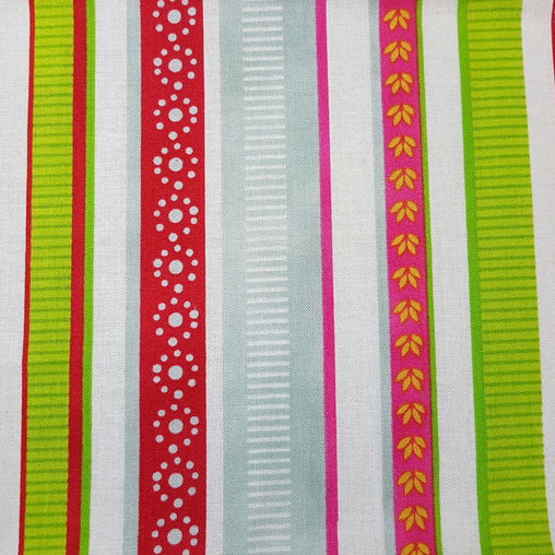 Multi Garden Stripes - 100% Cotton Fabric Fat Quarter - Vera Fabrics