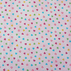 Pink Multi Hearts - 100% Cotton Fabric Fat Quarter - Vera Fabrics