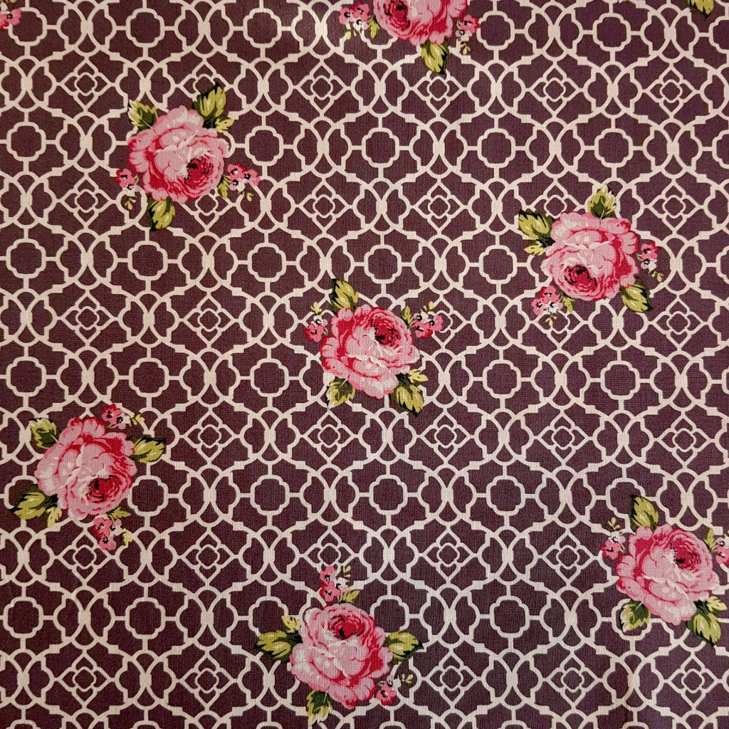 Dark Purple Lattice Roses Fenton House Cotton Fabric - Vera Fabrics
