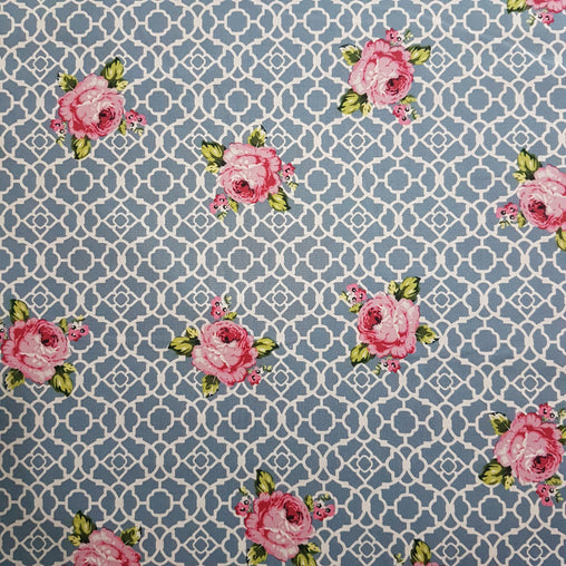 Teal Lattice Roses Fenton House Cotton Fabric - Vera Fabrics