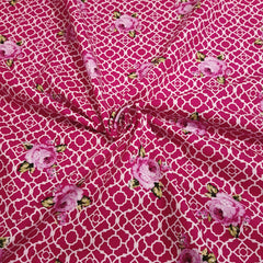 Dark Pink Lattice Roses Fenton House Cotton Fabric - Vera Fabrics