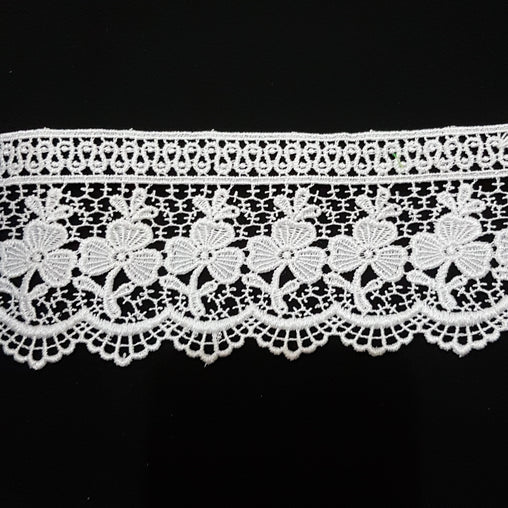 "3"" (77mm) Ornate Floral White Guipure Lace Trim - by the metre - Vera Fabrics"