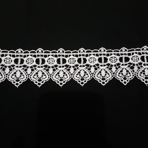 50mm Vintage Hearts White Guipure Lace Trim - by the metre - Vera Fabrics