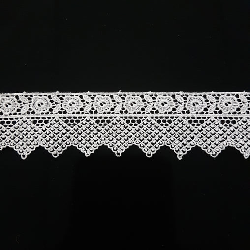 60mm Vintage Floral Net White Guipure Lace Trim - by the metre - Vera Fabrics