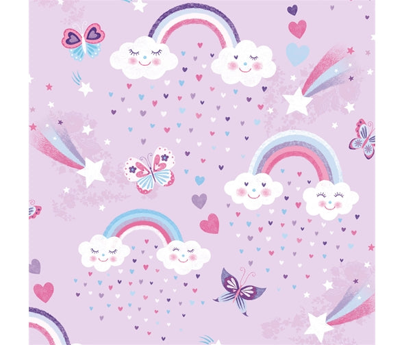 Rainbows & Clouds With Shooting Stars Butterflies Cotton Fabric - Vera Fabrics