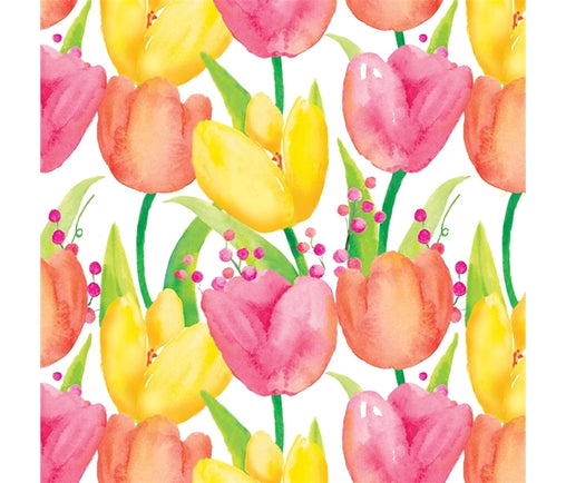 Colourful Tulips Garden of Flowers Summer Cotton Fabric - Vera Fabrics