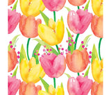 Colourful Tulips Garden of Flowers Summer Cotton Fabric
