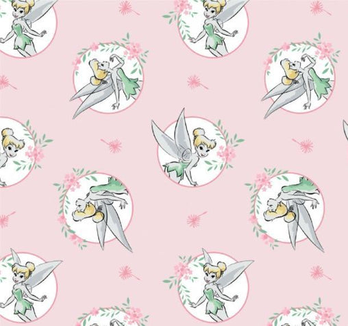 Licensed Disney Tinkerbell Pink Peter Pan in Circles Cotton Fabric - Vera Fabrics