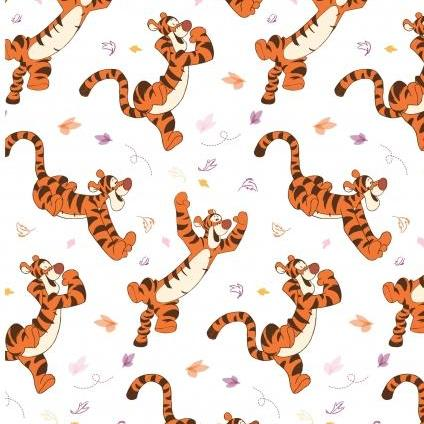 Licensed Disney Tigger Winnie the Pooh White Cotton Fabric - Vera Fabrics