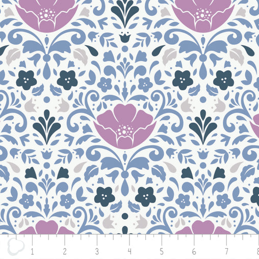 Ethereal Floral Damask in Orchid Cotton Fabric - Vera Fabrics