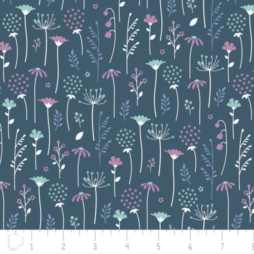 Ethereal Midnight Flowers Falling Cotton Fabric - Vera Fabrics