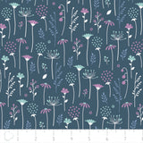 Ethereal Midnight Flowers Falling Cotton Fabric