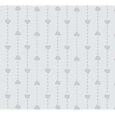 Pale Grey String of Hearts Basically Hugs Cotton Fabric - Vera Fabrics
