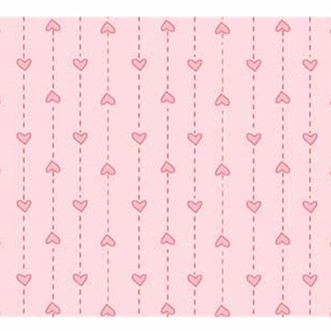 Pink String of Hearts Basically Hugs Cotton Fabric - Vera Fabrics