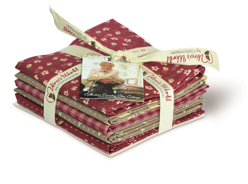 Red & Brown Country Chic Cottage Cotton Fabric Fat Quarter Bundle - Vera Fabrics