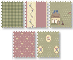 Green & Pink Country Chic Cottage Cotton Fabric Fat Quarter Bundle - Vera Fabrics