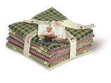 Green & Pink Country Chic Cottage Cotton Fabric Fat Quarter Bundle