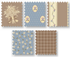Brown & Blue Country Chic Cottage Cotton Fabric Fat Quarter Bundle - Vera Fabrics