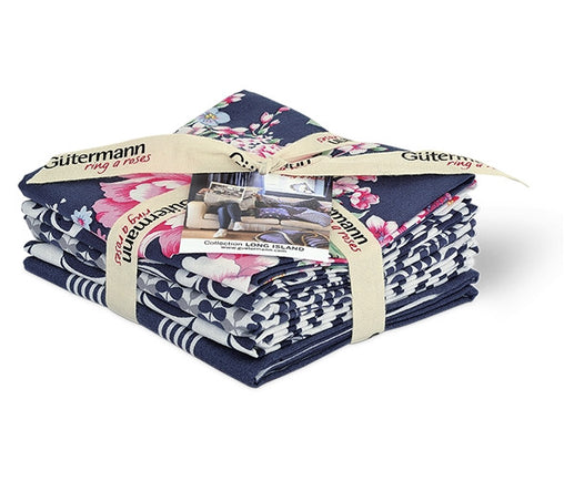 Navy Long Island Cotton Fabric Fat Quarter Bundle - Vera Fabrics