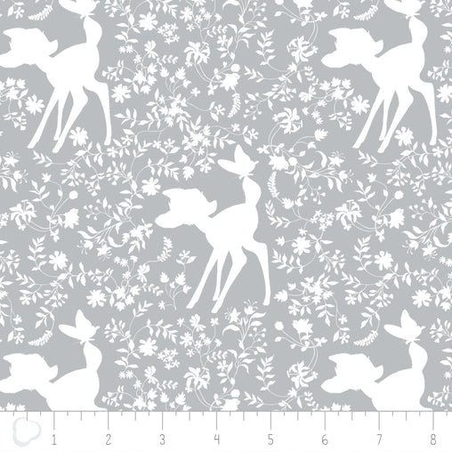 Disney Bambi Silhouette in Grey & White Cotton Fabric - Vera Fabrics