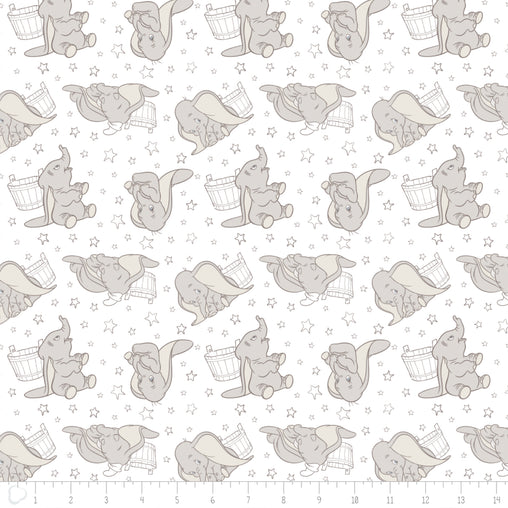 Licensed Disney Dumbo Elephant Stars in Dark Taupe Cotton Fabric - Vera Fabrics