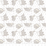 Licensed Disney Dumbo Elephant Stars in Dark Taupe Cotton Fabric