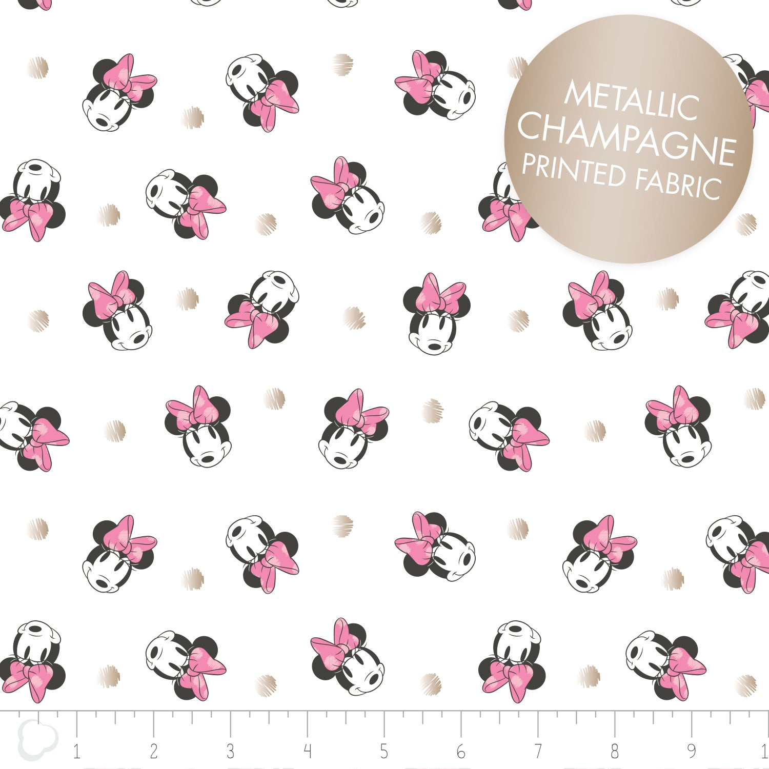 Licensed Disney Minnie Mouse Metallic Spots Cotton Fabric - Vera Fabrics
