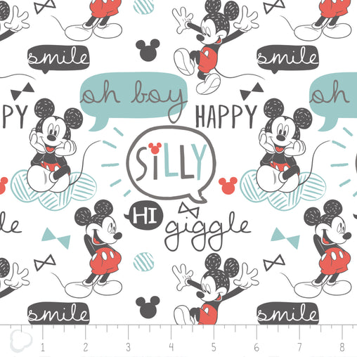Licensed Disney Mickey Mouse White Oh Boy Giggle Cotton Fabric - Vera Fabrics