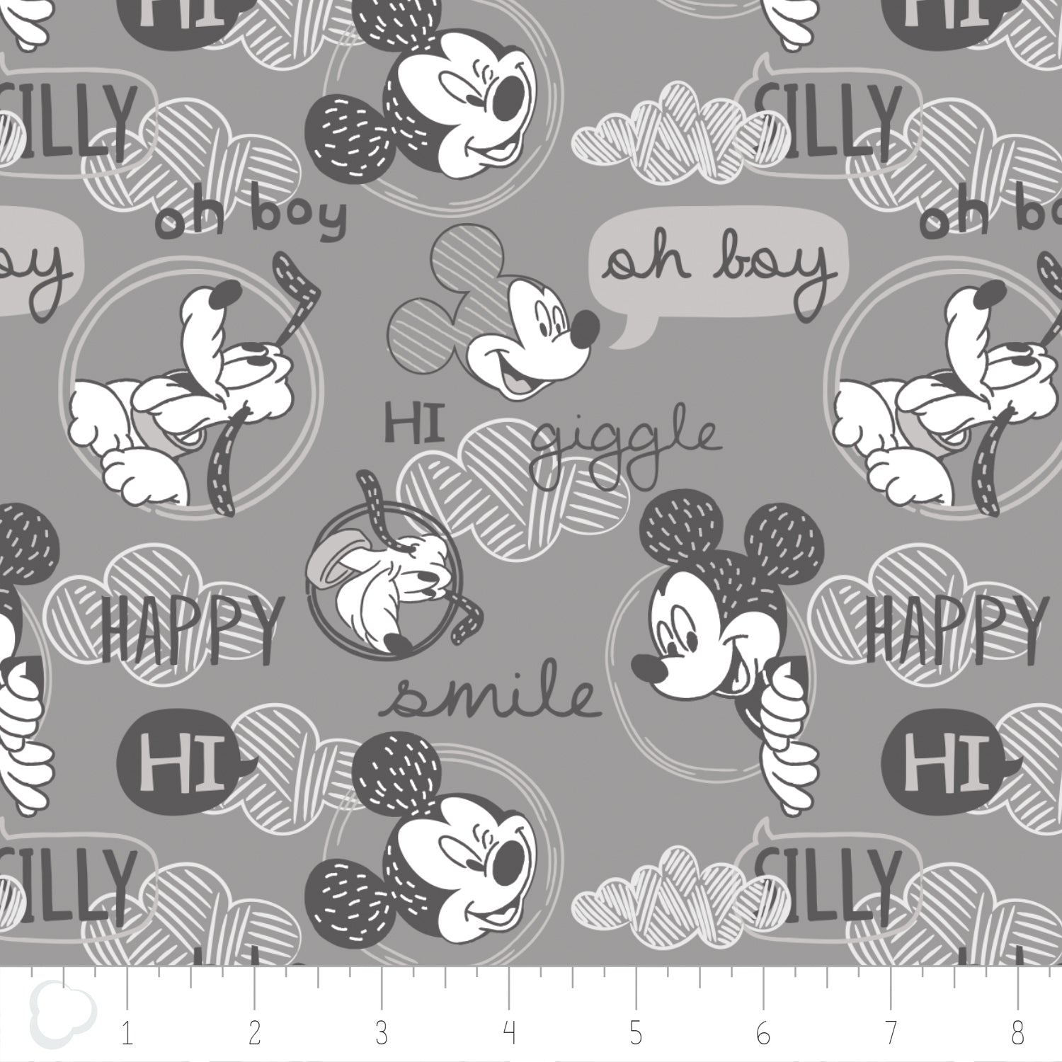 Licensed Disney Mickey Mouse Friends Smile & Giggle Grey Cotton Fabric - Vera Fabrics
