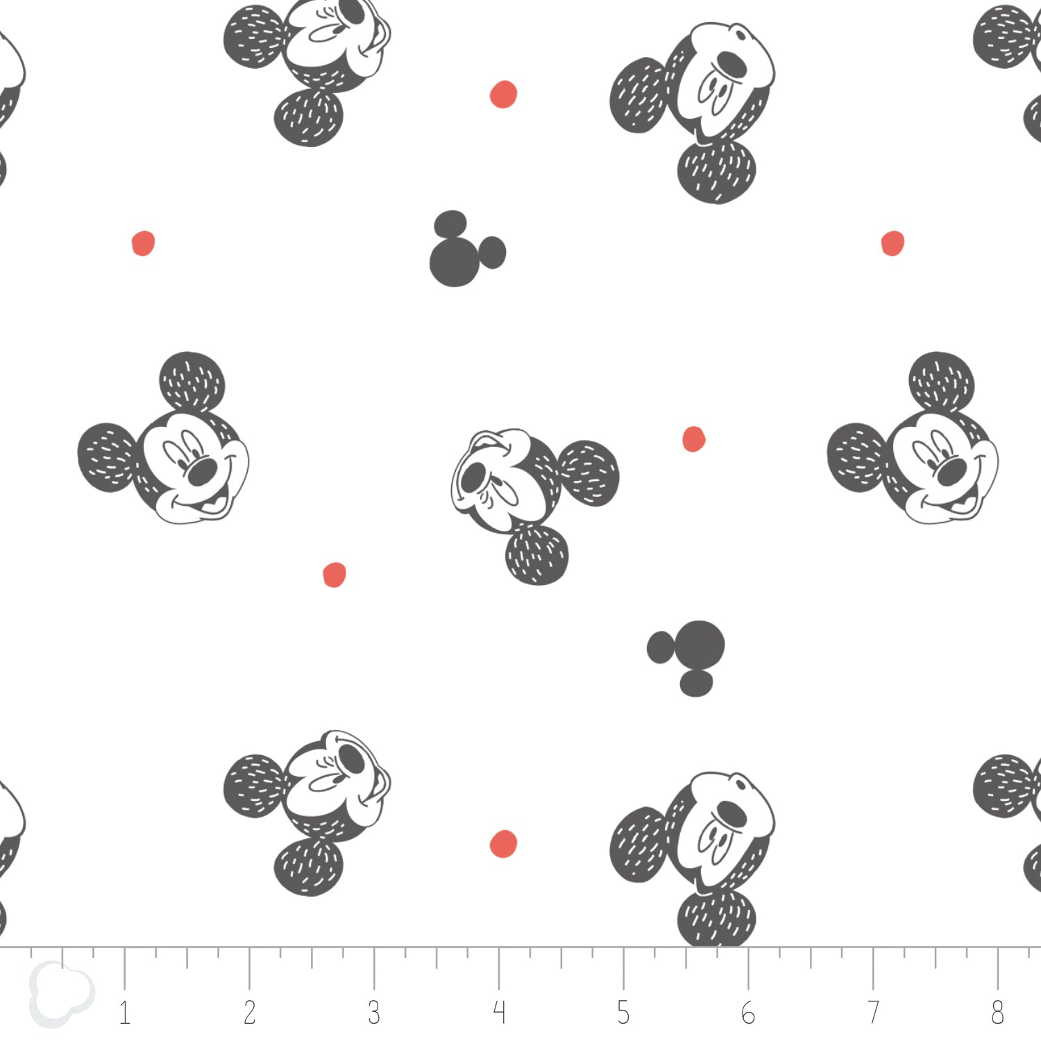 Licensed Disney Mickey Mouse Heads Spotty Cotton Fabric - Vera Fabrics