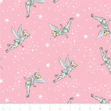 Licensed Disney Tinkerbell Pixie Dust in Pink with Stars Cotton Fabric
