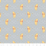 Disney Winnie the Pooh Honeybee in Light Grey Cotton Fabric