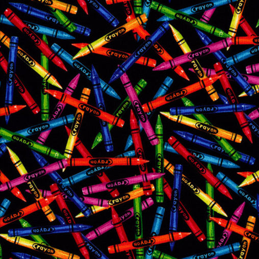 Colourful Crayons Novelty Cotton Fabric - Vera Fabrics