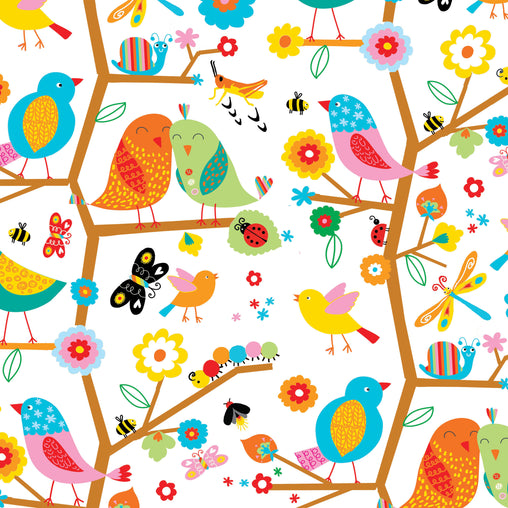 Birds Tweeting Backyard Buzz Cotton Fabric - Vera Fabrics