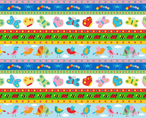 Animals in a Row Backyard Buzz Cotton Fabric - Vera Fabrics