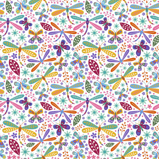 Dragonflies And Leaves Dream Cotton Fabric - Vera Fabrics