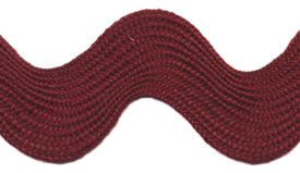 Super Jumbo 4cm Large Ric Rac Craft Ribbon - Burgandy - Per Metre - Vera Fabrics