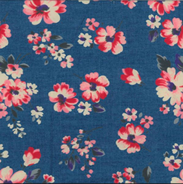 Floral Printed Lightweight 100% Cotton Denim Fabric - Dark - Vera Fabrics