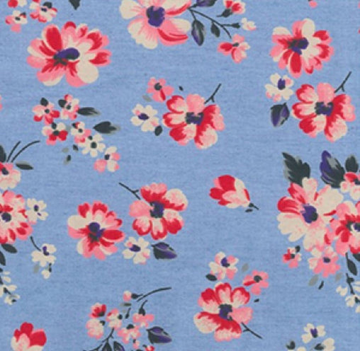 Floral Printed Lightweight 100% Cotton Denim Fabric - Light - Vera Fabrics