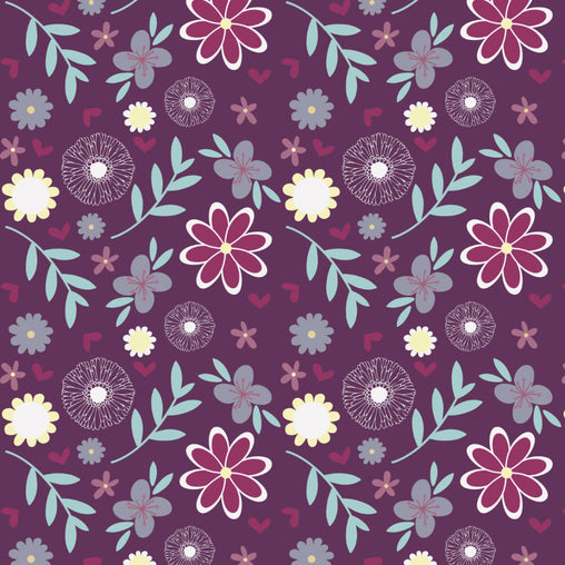 Deep Purple Large Flowers Cotton Fabric - Vera Fabrics