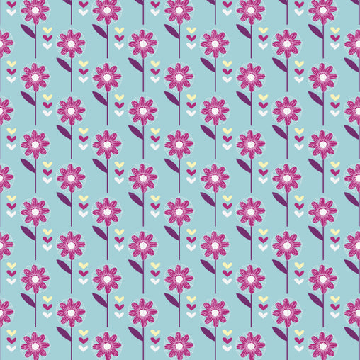 Turquoise Daisy Flowers Cotton Fabric - Vera Fabrics