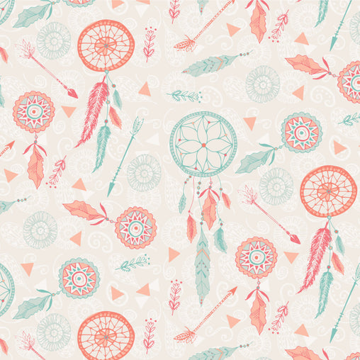 Mint & Orange Dream Catchers Cotton Fabric - Vera Fabrics