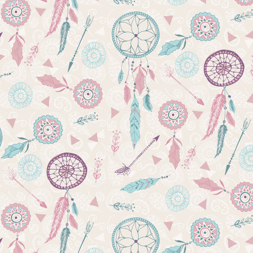 Blue & Purple Dream Catchers Cotton Fabric - Vera Fabrics