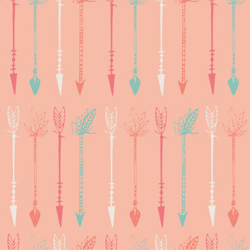 Peach Arrows Cotton Fabric - Vera Fabrics