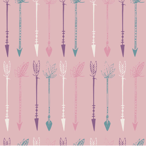 Dusty Pink Arrows Cotton Fabric - Vera Fabrics