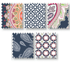 Navy Marrakesch Cotton Fabric Fat Quarter Bundle - Vera Fabrics