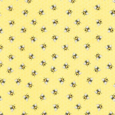 Bees on Honeycomb Yellow Novelty Cotton Fabric - SOLD OUT! - Vera Fabrics
