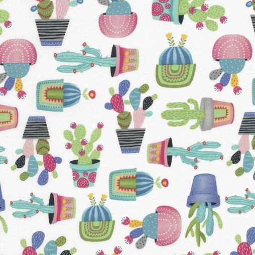 Potted Cactus Fun Summer Cacti Plants Novelty Print Cotton Fabric - Vera Fabrics