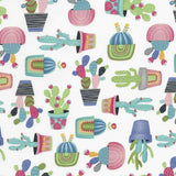 Potted Cactus Fun Summer Cacti Plants Novelty Print Cotton Fabric